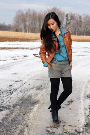 burnt orange NEU jacket - blue sam & max shirt