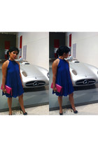 blue asos dress - hot pink Cole Hans bag - white H&M earrings - black Yves Saint