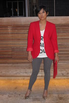 red Pendelton blazer - heather gray hm tights - off white Urban Outfitters t-shi