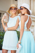 light blue NB Sport dress - beige Sibel Loci bag - gold gold Tom Ford sunglasses