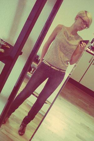 skinny jeans H&M jeans - leopard print Monki top