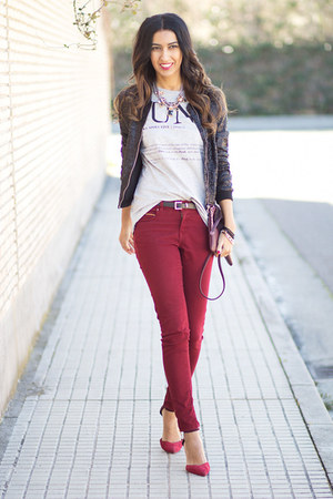 brick red Zara jeans - black Stradivarius jacket