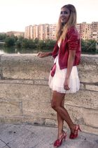 red BLANCO jacket - white Zara dress