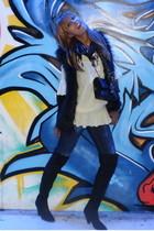Zara vest - Bershka - Zara boots - blouse - Chanel lambskin 255 purse