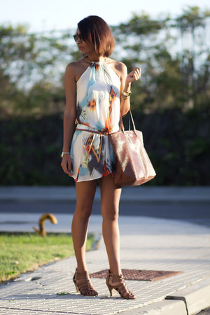 burnt orange Bershka dress - brown Mango bag