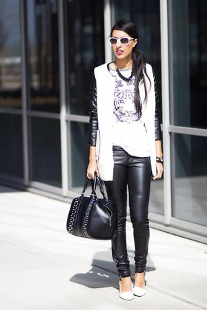 black Sheinside jacket - white Pull & Bear sweater