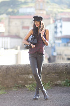 dark gray LetyOnline boots - dark gray H&M hat - brick red Zara blouse
