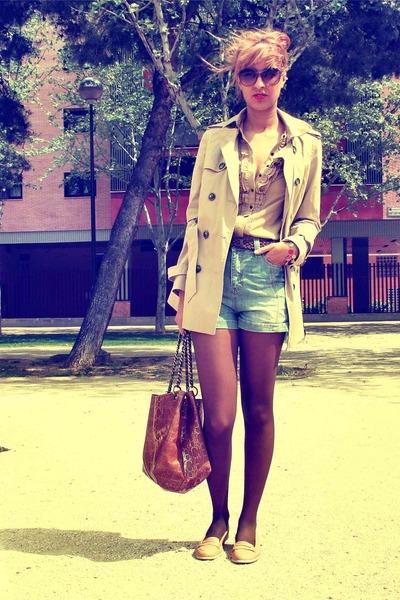 camel BLANCO shoes - beige Zara coat - light blue BLANCO shorts - beige Zara blo
