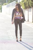maroon Adidas top - Vila jacket - black Zara pants