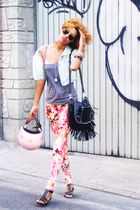 pink Mango leggings - gray Mango shirt - black Mango bag