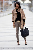 camel Zara coat - light brown Zara pants