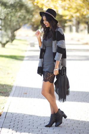 gray Zara dress - dark gray Zara boots