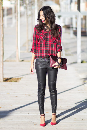 red Stradivarius blouse - black Zara pants - ruby red Zara heels