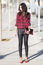 red Stradivarius blouse - black Zara pants - ruby red Zara heels