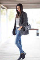 navy pull&bear jeans - gray Mango coat - navy Sheinside sweater