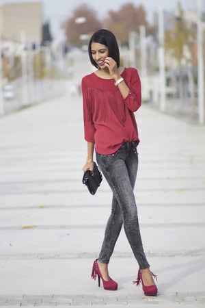 brick red Bershka blouse - brick red naughty monkey heels