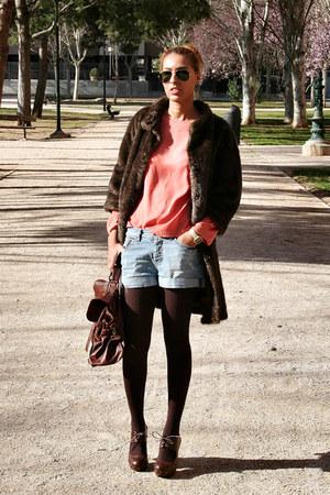 blue Zara shorts - coral BLANCO blouse