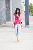 coral Saako accessories - bubble gum Zara coat - light blue Zara pants