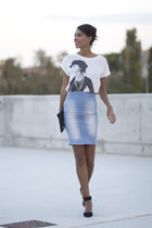 light blue BLANCO skirt - black Zara shoes