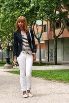 white BLANCO shoes - white Zara jeans - navy Zara blazer