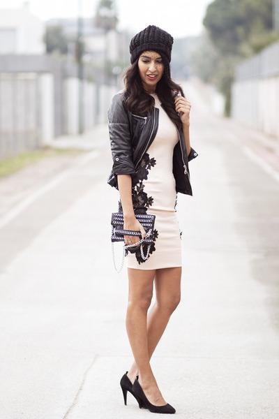 light pink AX Paris dress - black Zara bag