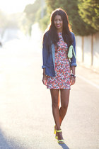 blue Zara dress - blue Bershka jacket