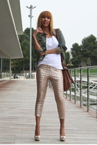 beige sequined Zara leggings - beige Zara loafers