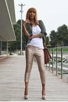 beige sequined Zara leggings - beige Zara loafers