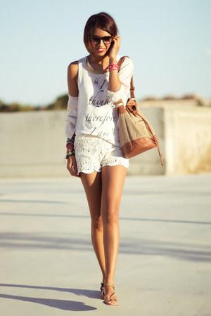 white BLANCO shorts - white Zara shirt - brown Zara sandals