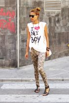 white BLANCO t-shirt - silver Bershka leggings - black Ulanka shoes