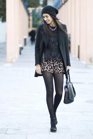 black PERSUNMALL bag - dark brown Sheinside shorts