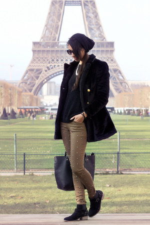 black BLANCO coat - dark khaki pull&amp;bear pants