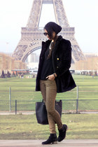 black BLANCO coat - dark khaki pull&bear pants