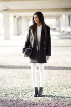 white Zara jeans - black Mango coat - white Sheinside blouse