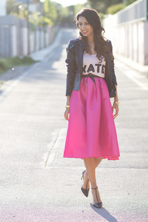 hot pink Choies skirt - black Vila jacket