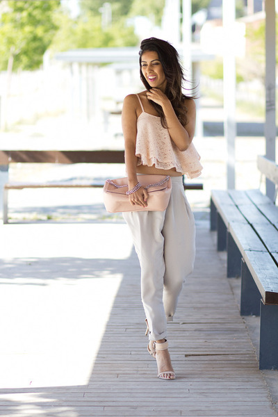 light pink Sheinside top - light pink Bershka bag - beige Zara pants