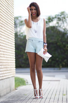 light blue Zara shorts - white Zara blouse - silver Tous accessories