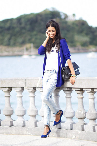 blue Sheinside jacket - light blue Zara jeans - blue Zara heels