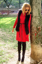 red Mango dress - black Zara boots - black Zara vest