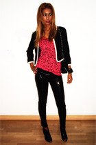 black Sfera leggings - black BLANCO shoes - black Bershka t-shirt - H&M blazer