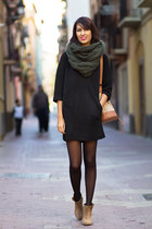dark green Zara scarf - tawny Zara boots - black Zara dress
