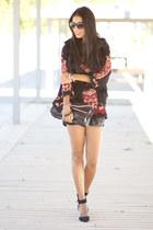 black Zara shorts - black c&a vest - black Sheinside blouse