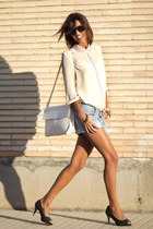 jovonna london blouse - black BLANCO shoes - white Zara bag