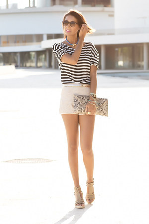 navy Mango shirt - Primark bag - beige Mango shorts
