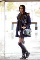 gray etam dress - black Zara boots - navy Sheinside coat