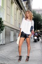 pink H&M blouse - black Zara shorts - black Chanel purse