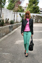 aquamarine Zara jeans - bubble gum Zara shirt