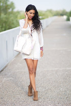 white Zara dress - brown Alex Silva boots - white Loeds bag