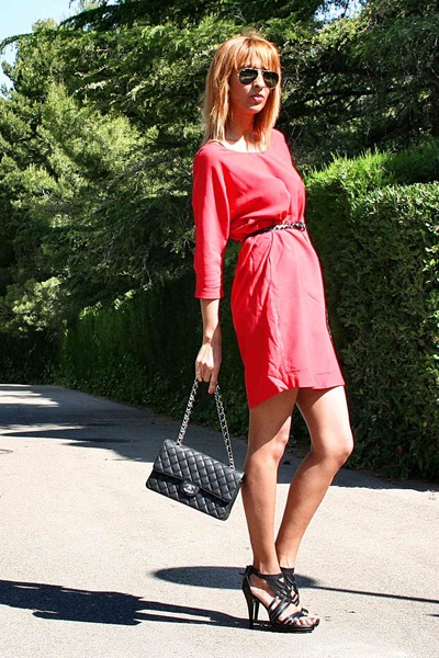 red Zara dress - black Chanel purse - black Zara sandals