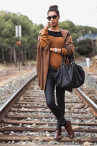 burnt orange Zara jumper - tawny Zara boots - burnt orange H&M cape
